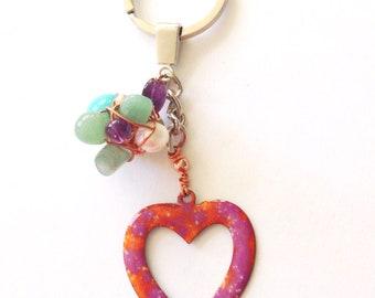 Enameled Vintage Copper Heart Pendant/Charm Keyring with Gemstone Cluster