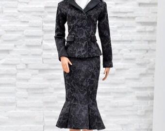 ELENPRIV black jacquard godet skirt for Tonner Tyler dolls and similar body size dolls