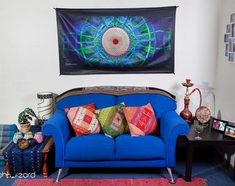 LIGHT WIZARD Wall Hanging - Tapestry - Banner - Visionary Art - Photograph - Sublimation - Print - Blue - Spiritual - Sacred Geometry - Art