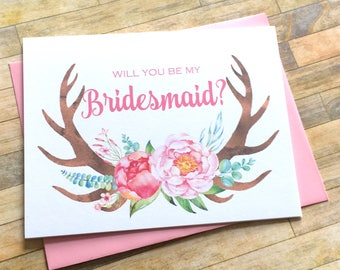 Bridesmaid Proposal - Will You Be My Bridesmaid Card - Rustic Antler Bridesmaid Card - Be My Bridesmaid - Maid of Honor - RUSTIC LOVE