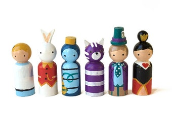 cute toys for kids - Alice in Wonderland - cute toys - wooden peg dolls