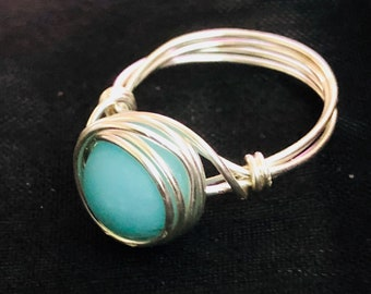 Amazonite Wire wrapped ring