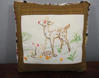 Woodland Deer Embroidered Pillow With Insert