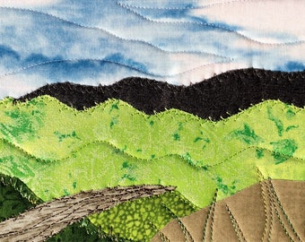 Fabric Postcard - Mountain Hike - Small Quilt - Fabric Art - Landscape Art - Mountain Landscape - Gift for Him - Vacation Memories