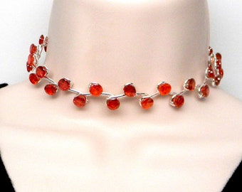 Discreet Slave Collar Bright Red Cubic Zircona Vine Motif Sterling Silver for Day or Public Wear Adjustable from 13.5 to 15.5""