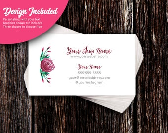 Business Cards - Custom Business Cards - Personalized Business Cards - Mommy Calling Cards - Burgundy Rose