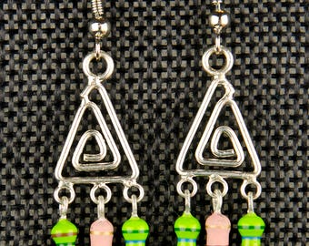Triangle Dangle Earrings with Green and Pink Resistors