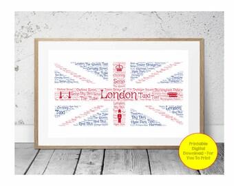JPEG - Printable - London - Union Jack - Flag - Personalised - Word Art - Custom - DIY Print - Colour Wording