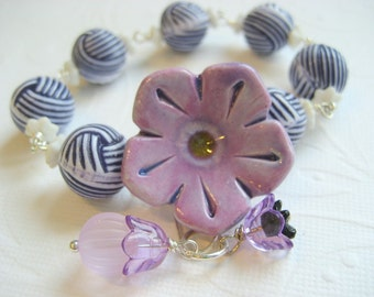 Ceramic Flower  Bracelet , nautical style, stripe lucite bead