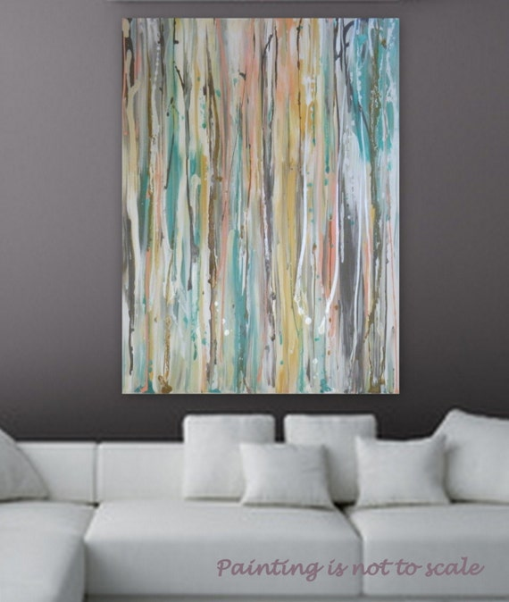 "Smple Large Pastel Abstract painting by Marcy Chapman 40"" x 30""  wall art  decore Turquoise, metalic silver, white pink, peach, blue, brown"