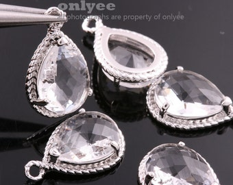 6pcs-19mmX12mmRhodium Faceted tear drop glass with rope rim pendants-Clear(M316S-P)