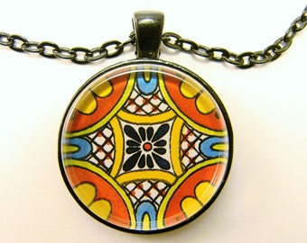 MEXICAN TALAVERA TILE Necklace -- Sunshine colors of yellow, orange and blue, Detail from hand-painted Mexican Tile, Friendship token