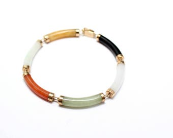 14K Yellow Gold Multicolored Jade Link Bracelet, Chinese Link Bracelet, 14k Gold Chinese Jewelry, Multicolored Jade Jewelry, 14k Gold Jade
