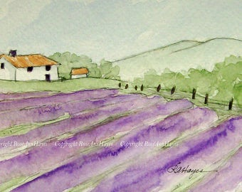 Original Watercolor Painting Lavender Field in Provence France Landscape Farmhouse Flowers Gift Floral
