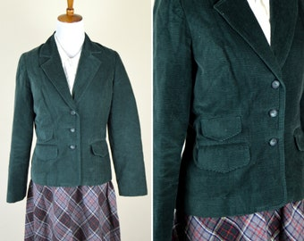 Vintage 1970's Forest Green Corduroy Fitted Blazer -  Boho Button Up Long Sleeve Professor Jacket with Folded Lapel And Pockets - Size Small