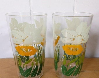 MEMORIAL DAY SALE 2 vintage daffodil glasses Anchor Hocking