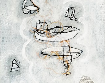 Impromptu no. 2 / Whimsical Mixed Media Drawing with Floating Forms in Black White and Gray