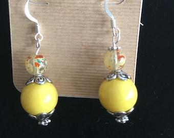 Yellow fun dangle earrings