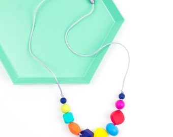 Rainbow Teething & Nursing Necklace - Bright 'Ariel' - Mummy Necklace - Fiddle Necklace - Chew Beads - Teething Beads - Silicone Jewellery