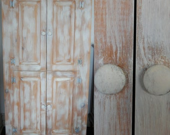 FREE SHIP Whitewashed Rustic Armoire / Wardrobe / Linen Storage Cabinet    Primitive Farmhouse   Weathered