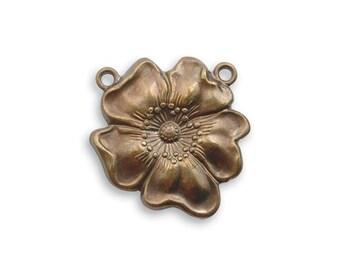 Vintaj Brass 16mm Embossed Flower Pendant Focal Two Loops Antiqued Brass Vintage Style Qty 1