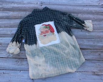 Flannel Shirt with Vintage Santa Claus, Size Medium, Christmas Flannel Shirt, Rustic Shirt, Flannels, Santa Shirt, Bleached, Green FF290