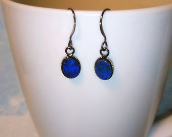 Black Opal Doublet Earrings, Australian Black Opal Doublet Dangle Earrings, 8x6mm Black Opals
