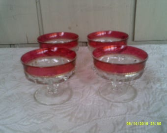 Four Vintage Tiffin Kings Crown Sherbert/ Ice Cream Goblets, Vtg Dessert Goblets, Cranberry Goblets