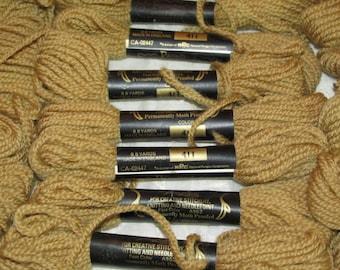 Vintage Lot 30 Skeins PARAGON Persian WOOL Needlepoint Crewel Yarn Light Golden Brown #411