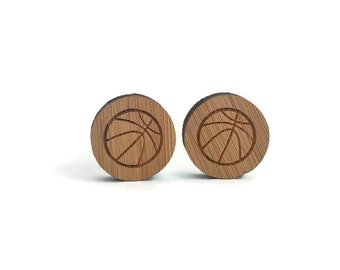 Basketball cufflinks, ball cufflinks, sports cufflinks, sports fan gift, ball wood cufflinks, Basketball fan gift, basket player gift