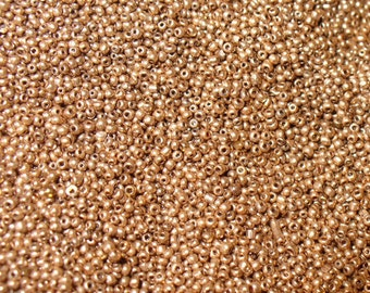 Micro Seed Beads Antique Size 18/0 Red Gold Color Glass