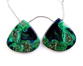 Azurite Malachite Drops Pear Shape 24X24mm, Stone of Heaven, Mountain Green & deep blue copper color, Drilled Beads Matching Pair(12032)