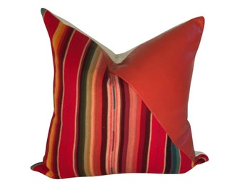 Leather Pillow, Leather and Fabric Pillow, Orange Stripped Pillow, Bright Color Pillow, Serape Pillow