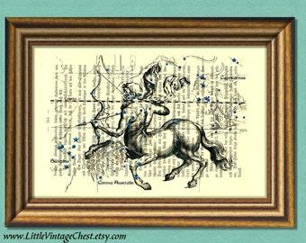 SAGITTARIUS CONSTELLATION  -Centaur- Zodiac -Constellation- Dictionary Art Print