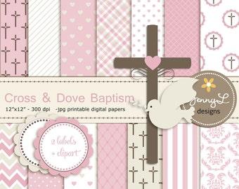 Cross Dove Clipart, Girl Baptism Digital Papers, First Communion, Holy Week Spirit Scrapbooking Paper, Christening, Baptismal, Dedication