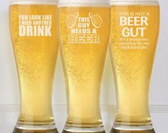 Funny Beer Mug, Custom Beer Glasses, Personalized Beer Gift, Drinking Glasses, Day Drinking, Beer Lover, Gifts for Men, Beer Pilsner Cups,