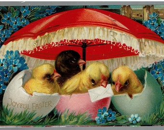 """EASTER CHICKS in Egg with Blue Flowers & Red Umbrella Embossed POSTCARD 1911 """"Joyful Easter"""" Made in Germany"""