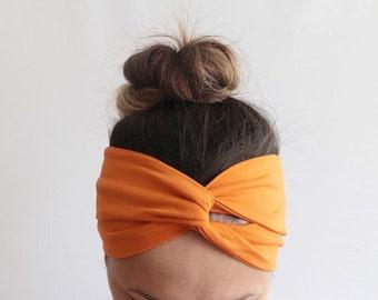 Turban, Orange Boho Headband, Elastic Soft Jersey Headband, Twist Headband, Yoga Headband, Fitness Headband, Running Headband T7