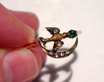 Antique Victorian 14K Rose Gold Emerald and Diamond Swallow Bird Crescent Moon RING