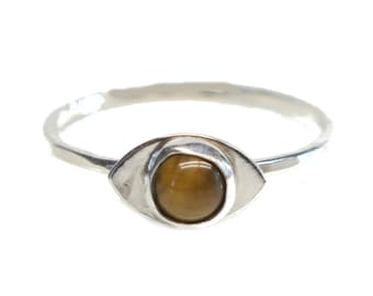 Size 10.5 100 % Sterling Silver Evil Eye Ring with an Tigers Eye Gemstone. FREE US Standard Shipping.