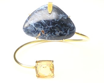 Citrine and natural pietersite sterling silver bracelet, FREE SHIPPING