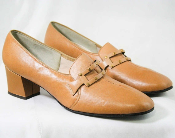 Studded 6 Modernist Never Tan Loafers 2 Hipster 2 60s Shoes Loafer Size Leather 6 Brown Pumps 5 Buckle Worn 1 43188 1960s OCqUFwq