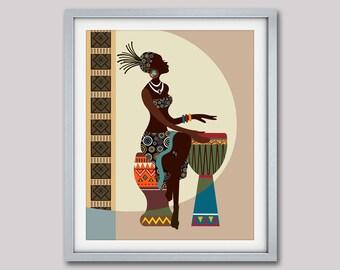 African Art, African American wall Art, African Woman, African Art painting, Black Woman Painting, African Decor, Black Woman