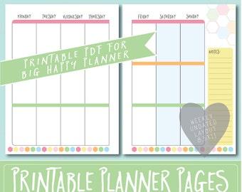 HAPPY PLANNER Printable Weekly Planner Refills / BIG Inserts - 8.5 X 11   Sorbet   Create 365   Me & My Big Ideas   mambi   Undated