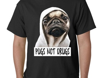 Pugs Not Drugs Mens T-shirt - #B512