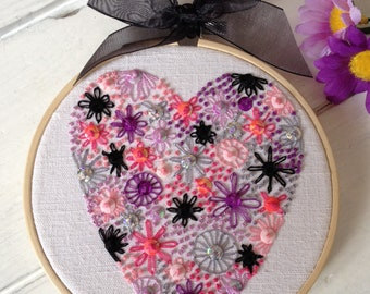 Unique-Gift-for-Girlfriend, Gift-for-Girlfriend, Gift-for-Wife, Embroidery-Hoop-Art, Heart-Gift-for-Her, Unique Embroidered Gift for her