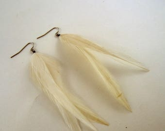 thin Ivory feather earrings dangler natural feathers