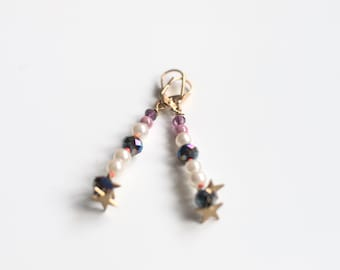 earrings with beads and star mi-longues