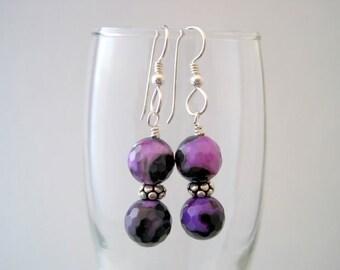 Purple Fire Agate Earrings