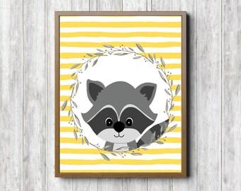 Woodland Nursery Wall Decor - Raccoon Printable Girls / Boys Room Wall Art - Yellow & Gray Art Poster - 8 x 10 - Woodland Creature